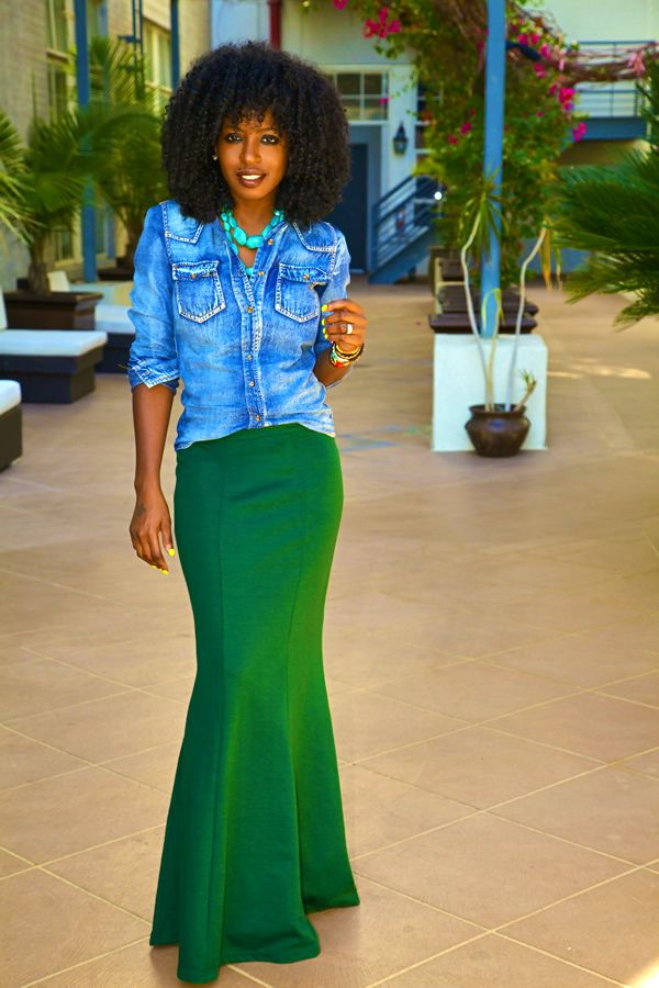 emerald green skirt + denim shirt + turquoise jewelry + layers of bracelets