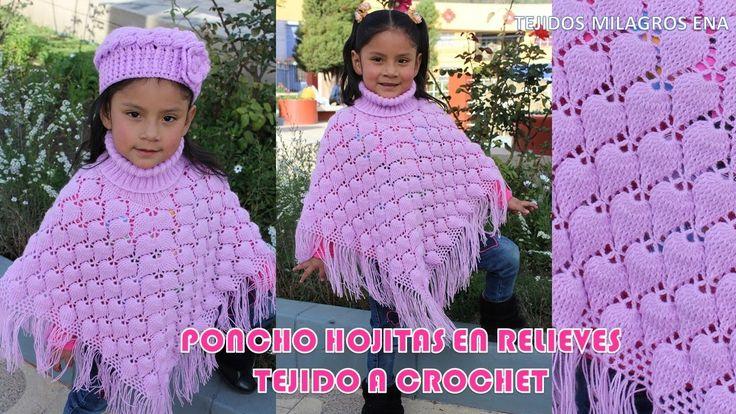 Poncho Hojitas en Relieves PARTE 1 tejido a crochet con indicaciones par...