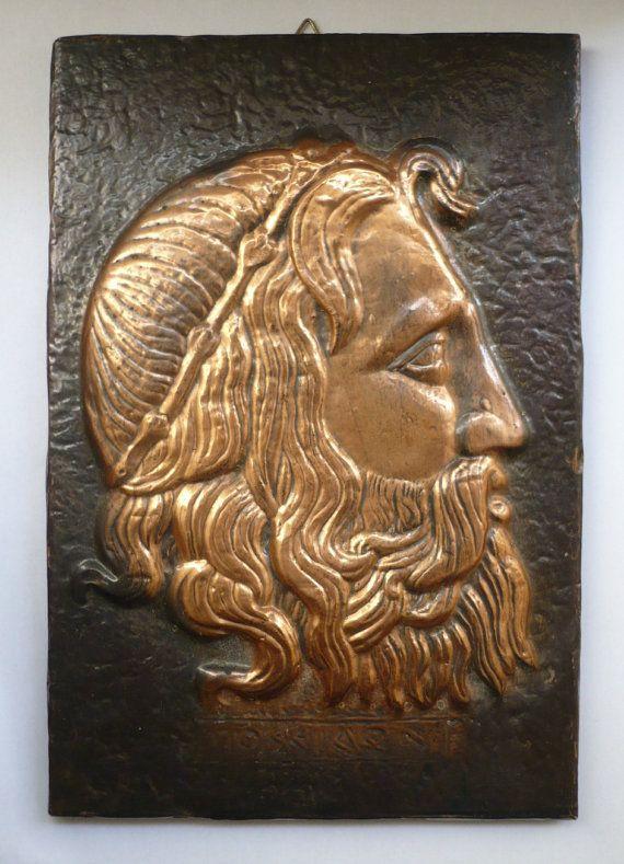 Vintage copperplate portrait Poseidon the Ancient Greek God of