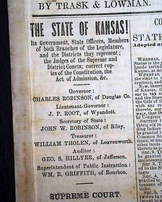 Kansas joins the Union: in a Kansas newspaper.  THE KANSAS STATE JOURNAL, Lawrence, Feb. 21, 1861