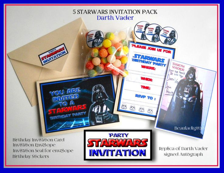 5 Pack Personalized Star Wars Darth Vader Birthday Invitations plus more