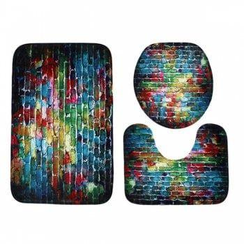 3Pcs Dazzling Brick Coral Fleece Bathroom Mats Set - COLORFUL