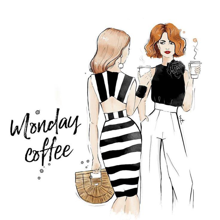 Double dose of coffee and double dose of gossip  Happy Monday .  .  #gossipgirl #monday #morning #coffee #redhead #girl #art #artist #fashion #artfashion #digitalillustration #freelancelife #work #graphicdesign #chanel  #beauty #pursuepretty #blogger #illustration #backtowork #inspiration #style #woman