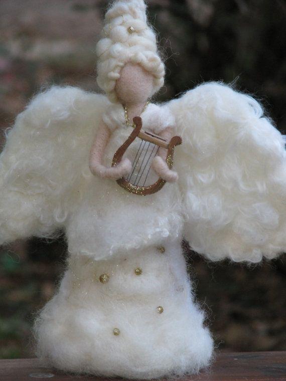 Needle felted Christmas angel