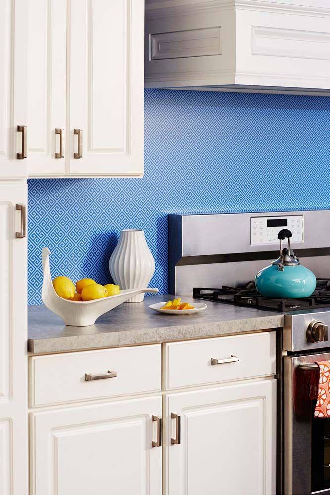 9492 Blue Greek Key Makes A Gorgeous Backsplash In This Kitchen Formica Laminate Jonathan