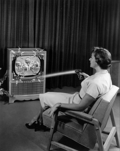 """The world's first television remote control. The wireless """"Flash-Matic"""" was invented by Zenith engineer Eugene Polley in 1955.  Source: krmg.com #Flash-Matic #1955"""