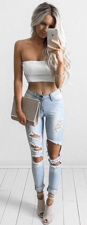 #summer #style |Hot Miami Styles  White Off Shoulder Top & Light Blue Shredded Denim Jeans