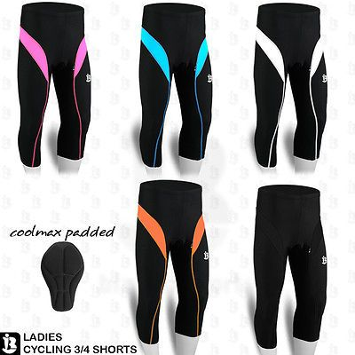 Ladies cycling shorts 3/4 three #quarter coolmax #padded #tights legging s to xl,  View more on the LINK: 	http://www.zeppy.io/product/gb/2/181511493664/