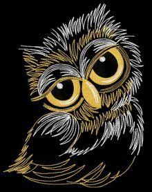 Sleepy owl 2 machine embroidery design. Machine embroidery design. www.embroideres.com