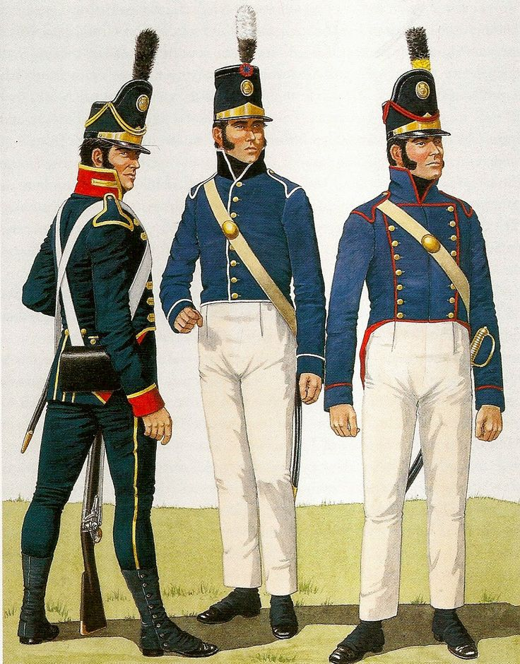 (Left) Rifleman, Police of the Royal Guard, 1804-1811. Centro) Soldier Telegraph Corps, 1810-1814. (Right) Soldier, Pé de Castelo, 1806-1812