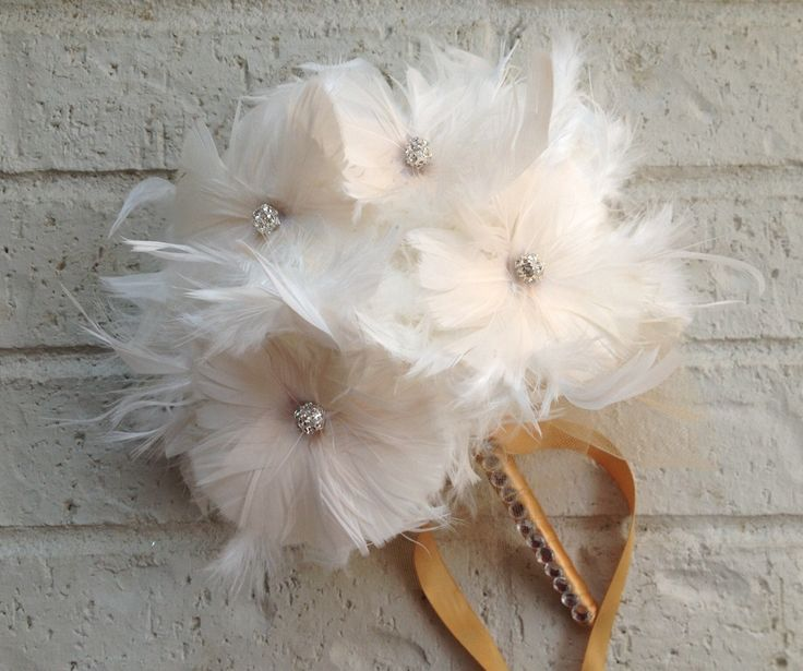 Wedding Bouquets With Feathers And Crystals : Ivory couture feather bouquet pomander feathers flowers