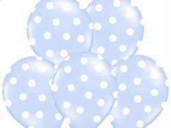 Balony błękitne białe kropki  urodziny 37 cm