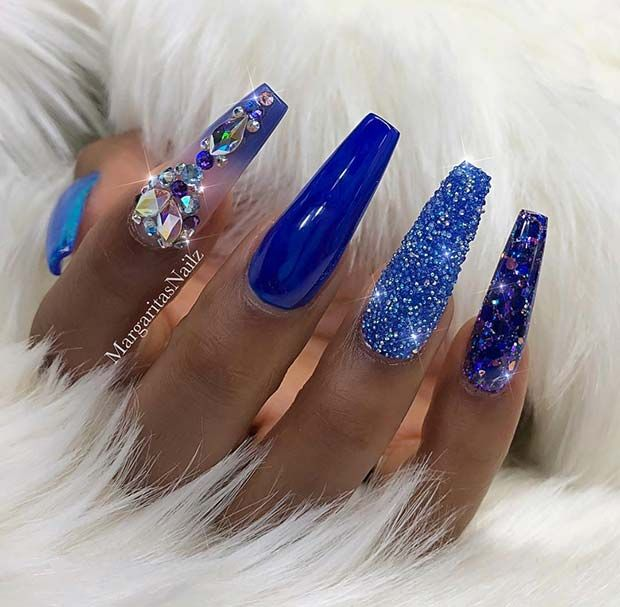 Bold Blue Nail Design For Coffin Nails Blue Nail Designs Royal Blue Nails Royal Blue Nails Designs