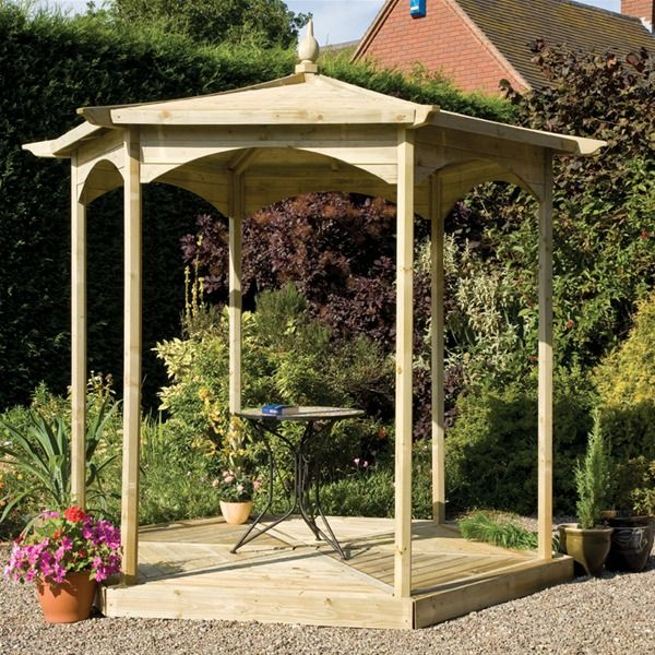 With the chunky timbers, elaborate curves, and quality fixings, the Brettenham Wooden Garden Gazebo is a high spec, pressure treated garden gazebo that is ideally suited to the UK climate. Description from internetgardener.co.uk. I searched for this on bing.com/images