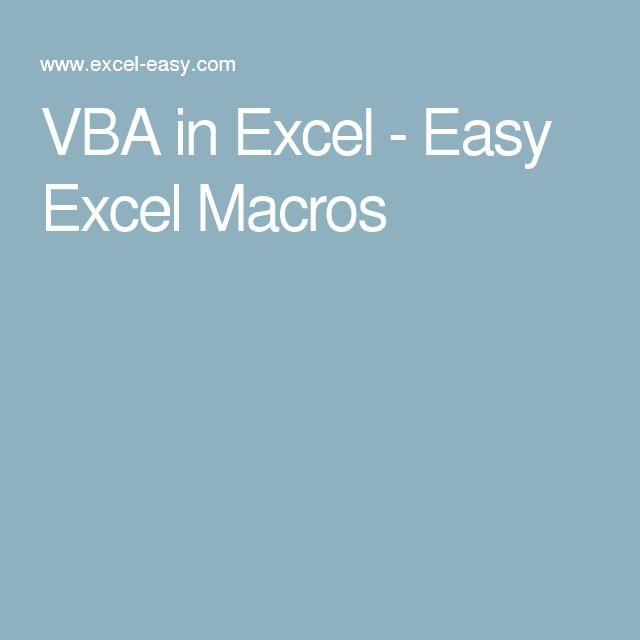 VBA in Excel - Easy Excel Macros