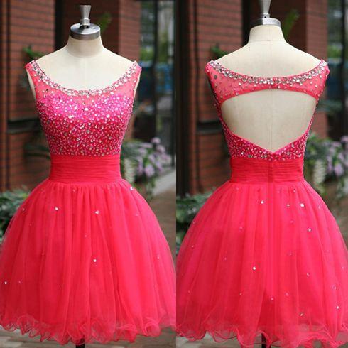 Hot pink homecoming dress, off shoulder homecoming dress