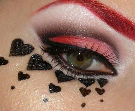 12 Valentine's Day Heart Eye Makeup Looks & Ideas For Girls & Women 2016