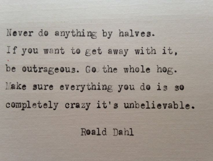 Roald Dahl quote hand typed on antique typewriter
