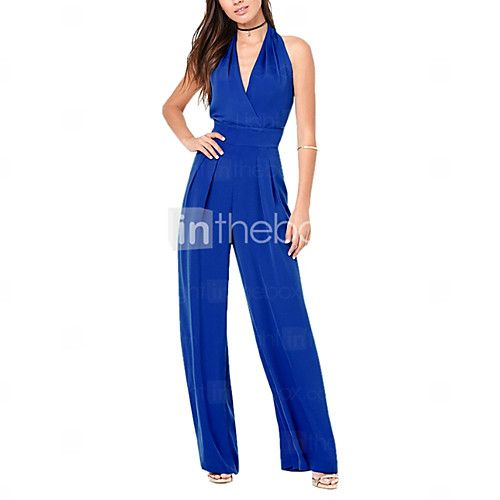 Breed Been Grote maten Jumpsuits,Effen Strand Feestje/cocktail Sexy Blote rug Diepe V-hals Mouwloos Hoge taille Polyester Micro-elastisch 2017 - €10.28