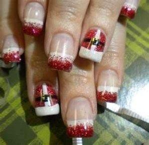 32 Christmas Nail Art Red And White Nail Art Christmas 08 Nails