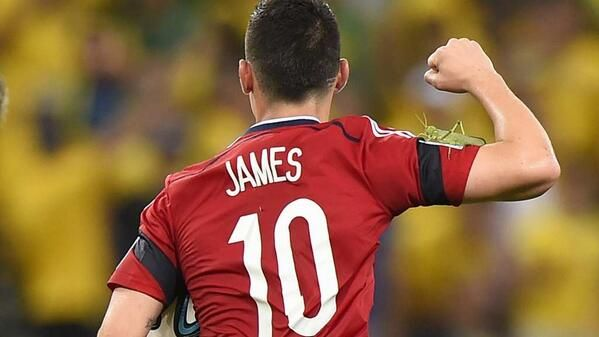 James Rodriguez and a Giant Katydid on his arm. FIFAWorldCup2014