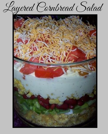 Layered Cornbread Salad on MyRecipeMagic.com