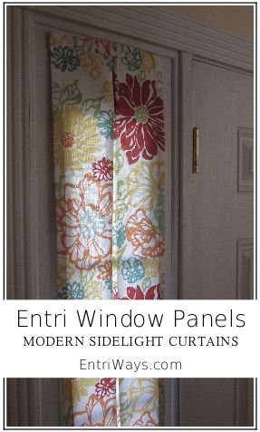 Entri Window Panels at EntriWays.com.   Modern sidelight curtains.  Velcro mount.  Single, inverted pleat.  Colorful fabrics.