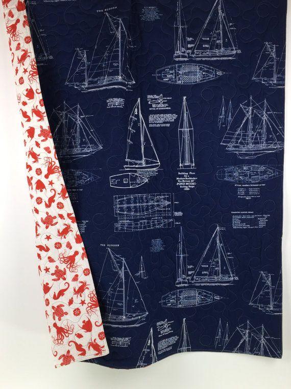 Nautical Baby quilt, coastal nursery bedding, nautical baby blanket, nautical crib quilt, handmade modern nautical baby, under the sea.