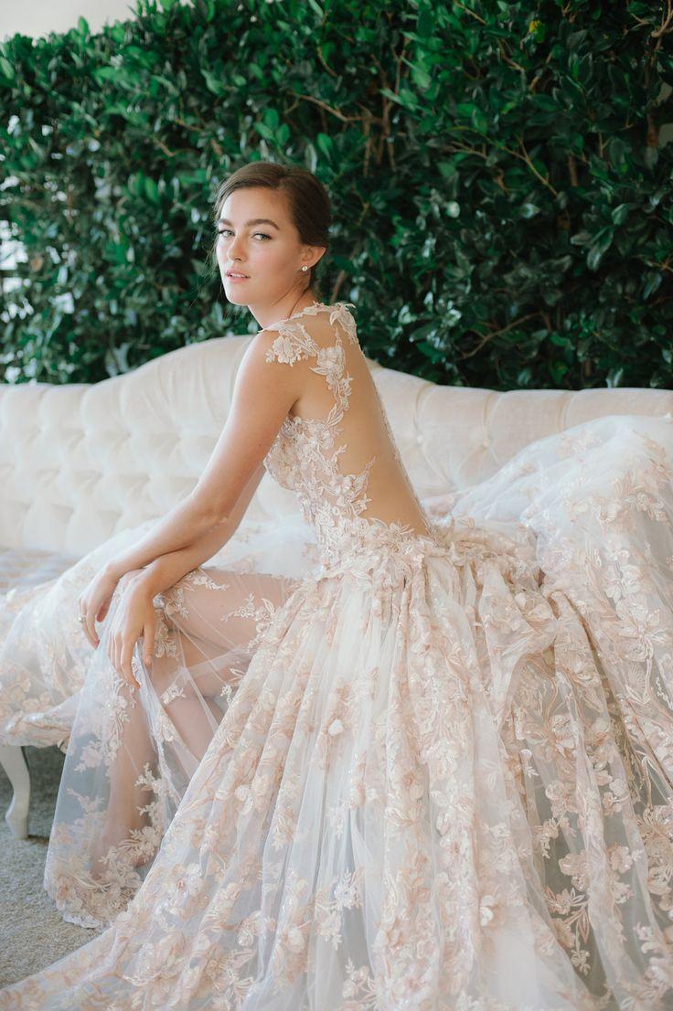 Best 25 blush wedding dresses ideas on pinterest pink wedding blush wedding dress galia lahav israel designer floral lace wedding gown with applique junglespirit Images