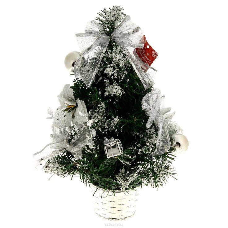 Декоративное украшение Sima-land Новогодняя елочка, цвет: серебристый, зеленый, высота 40 см. 819242