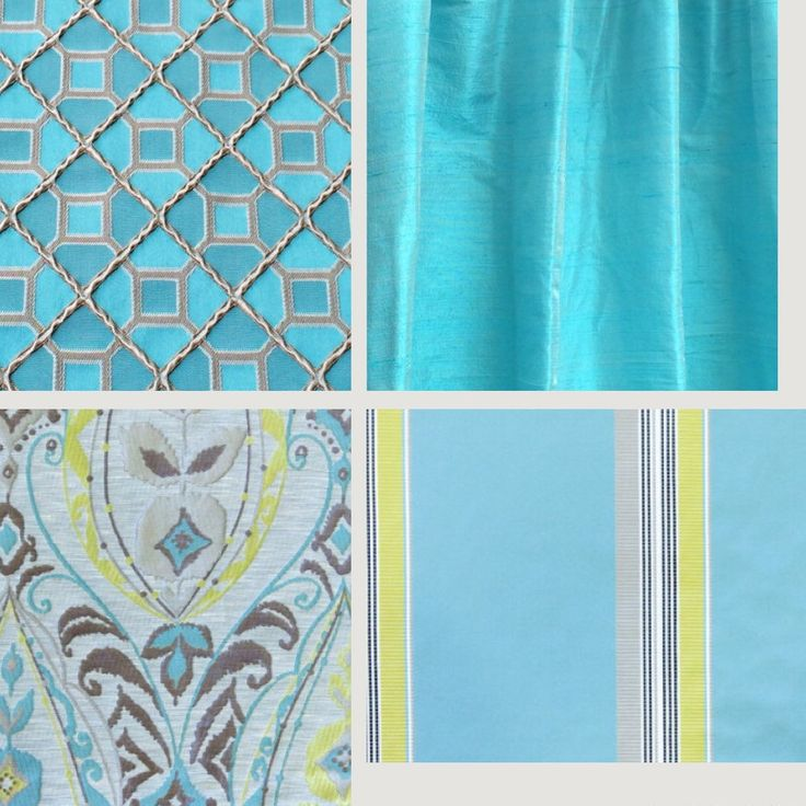 Aqua colors - Always in trend. Choose from stripes, checks, embroidery, damask, Moroccan patterns and pure silk. Fabricmart has it all!! Shop Now!!
