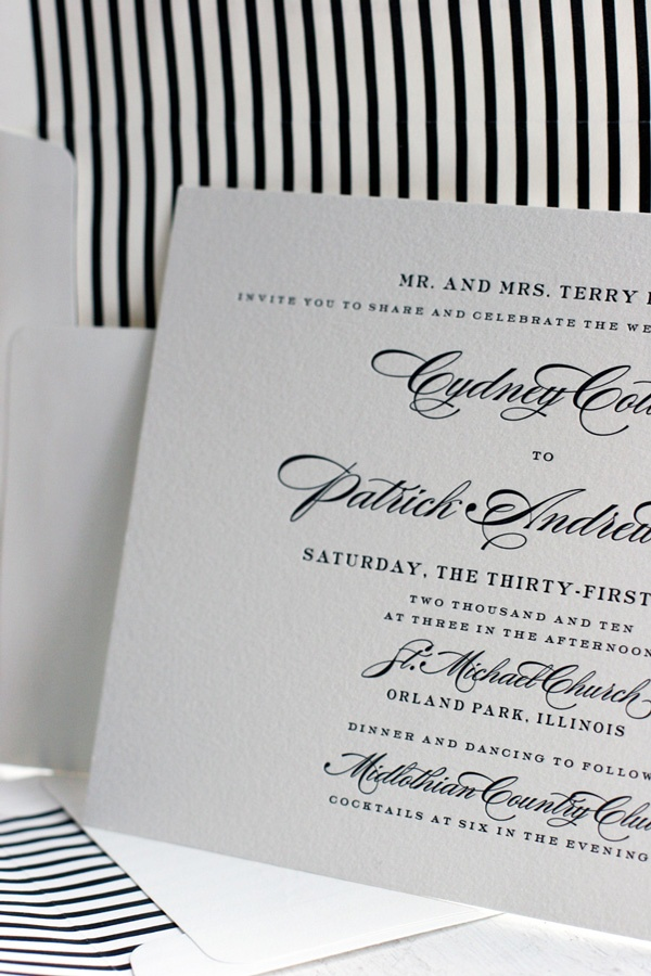 simple and timeless Deveril letterpress wedding invitation