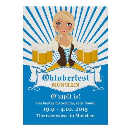 Waitress with Stein Oktoberfest Poster | Zazzle.com – CUSTOM PERSONALIZED Gift & Party Essentials