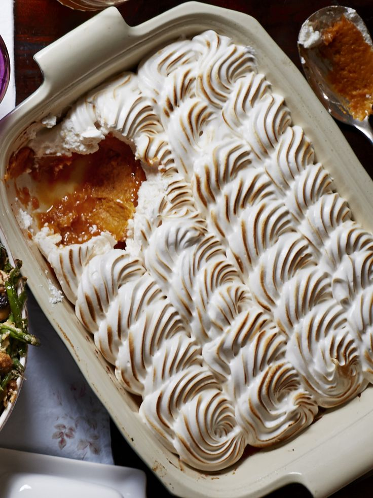 You'll want to eat this dessert casserole straight out of the pan. Recipe: Maple Meringue Sweet Potato Casserole   - Delish.com