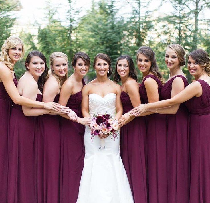 Wine color bridesmaids dresses