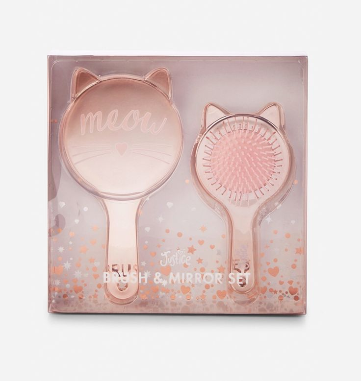 Justice Girl's MEOW Cat Brush & Mirror Set NWT #Justice