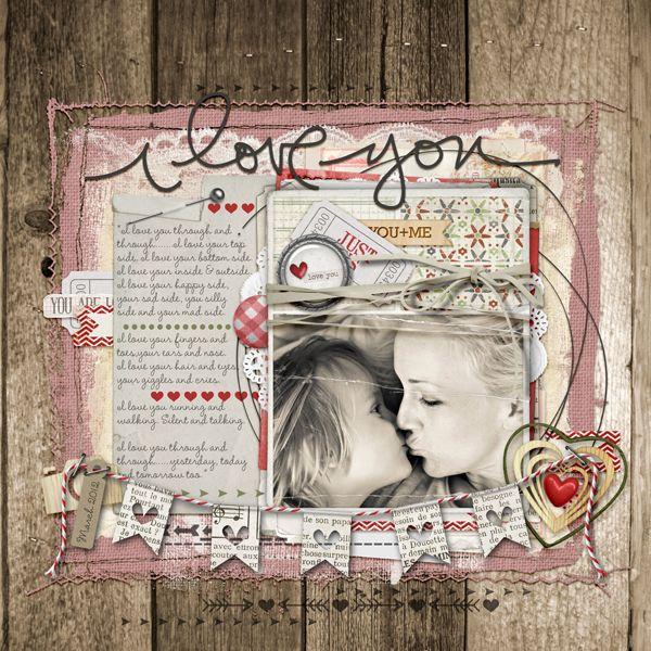 #valentine #scrapbook page from Carolynn at DesignerDigitals