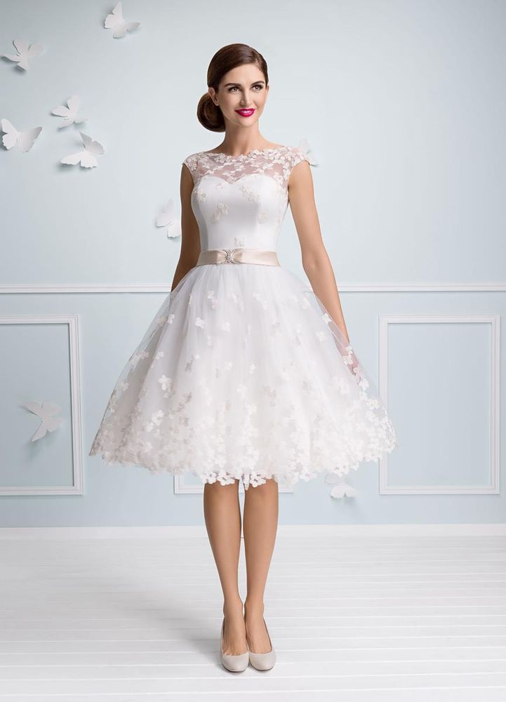 Organza Boat Neck Short A Line Wedding Dress Made To Measure For