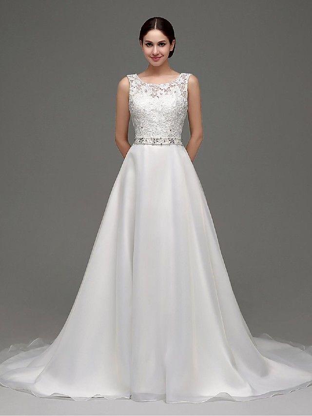 Linha A Vestido de Noiva Cauda Escova Canoa Organza com - BRL R$304,17