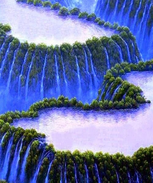 Stunning blue waterfall