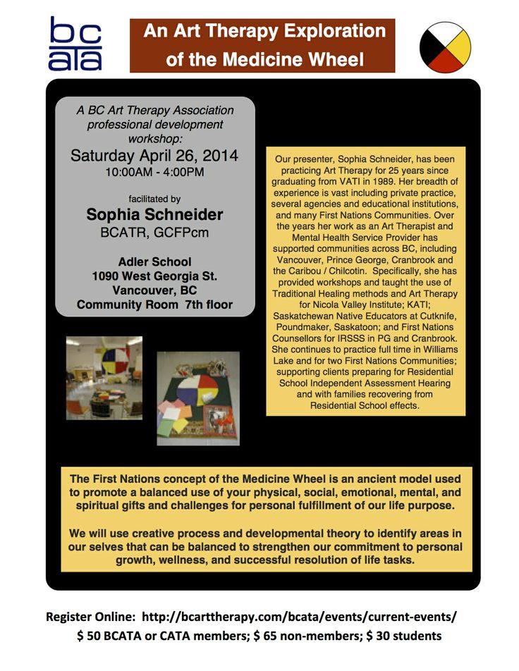 Join BCATA in Vancouver for an #arttherapy exploration of the Medicine Wheel on April 26 @PrezBCATA