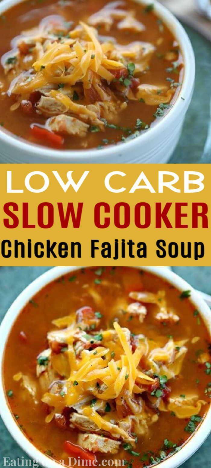 Crock Pot Chicken Fajita Soup Low Carb Crock Pot Chicken Fajita Soup Recipe Recipe In 2020 Healthy Crockpot Recipes Crockpot Chicken Chicken Fajitas