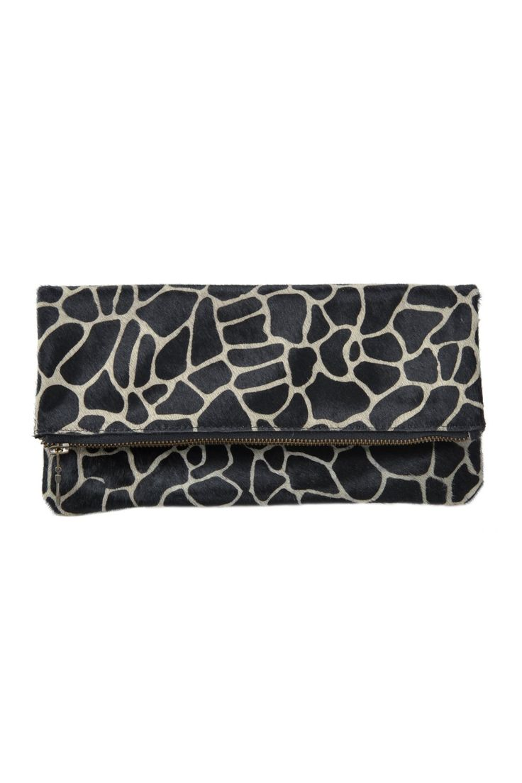 clutch made of natural cow leather - closure with metallic zipper - animal print pattern - interior made of satin textile fabric 26 L x 12H x 2W cm
