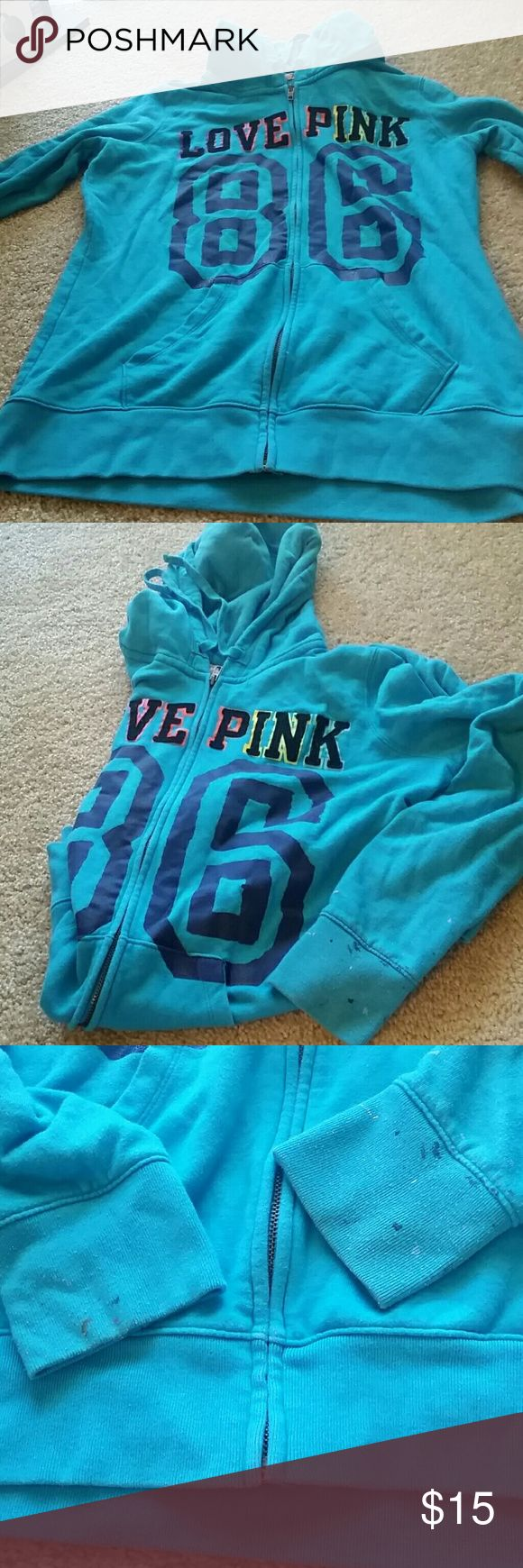 Pink zip up hoodie Some black and white paint on ends of sleeves shown in pic. Great condition otherwise. PINK Victoria's Secret Tops