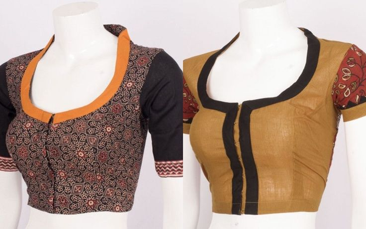 Plain Sarees With Printed Blouses