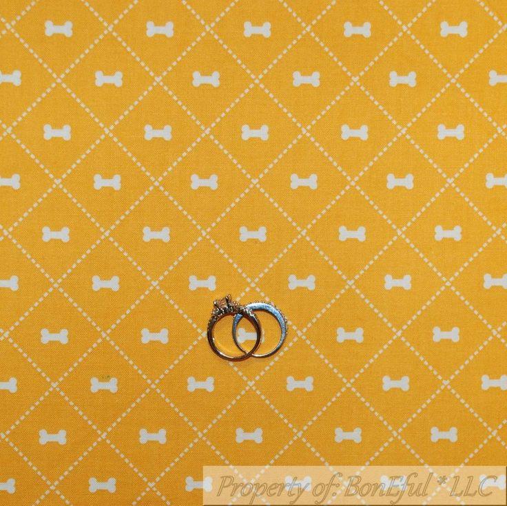BonEful Fabric Cotton Quilt Yellow White Dog Bone Stripe Check Block Small SCRAP #RileyBlake