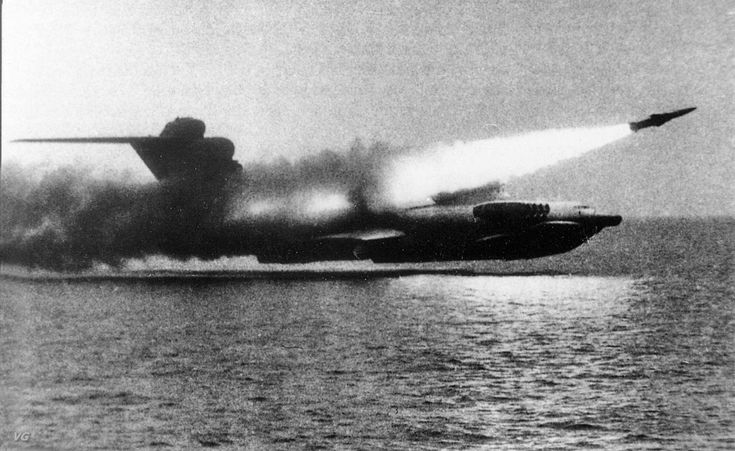 Soviet flying boat 'Lun-class ekranoplan' testing one of the six top mounted rocket silos, late 1980s - Pin by scann R