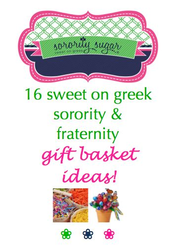 "Greeks often give each other gift baskets and small treats for special occasions. Add a corresponding note with your basket, such as ""We're Sweet On ____"" and you have a clever gift. Check out these inspirations for getting creative with your sorority and fraternity gift giving... <3 BLOG LINK: http://sororitysugar.tumblr.com/post/101506414084/sweet-on-greek-gift-basket-ideas#notes"