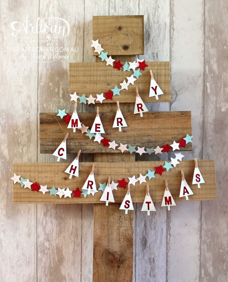 Rustic wood paling Christmas tree with Merry Christmas banner and stars I Stampin' Up!