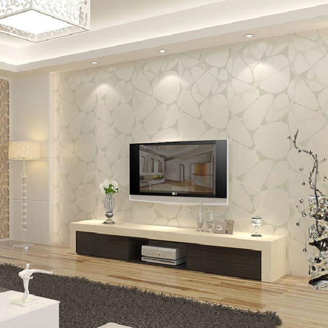 T non-woven wallpaper modern brief pearl silver bird nest tv background wall wallpaper